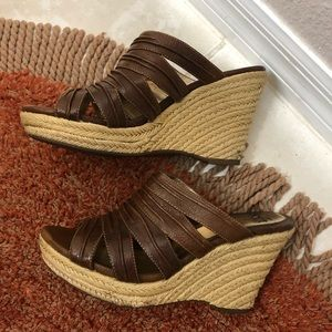 Sofft  Leather Peeptoe Espadrille